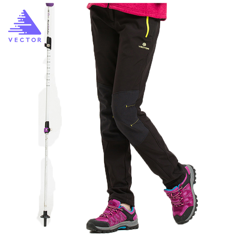 VECTOR Brand Camping Hiking Pants Women Warm Winter Waterproof  Thicken Fleece Softshell Pants Outdoor Mountaineering Trekking