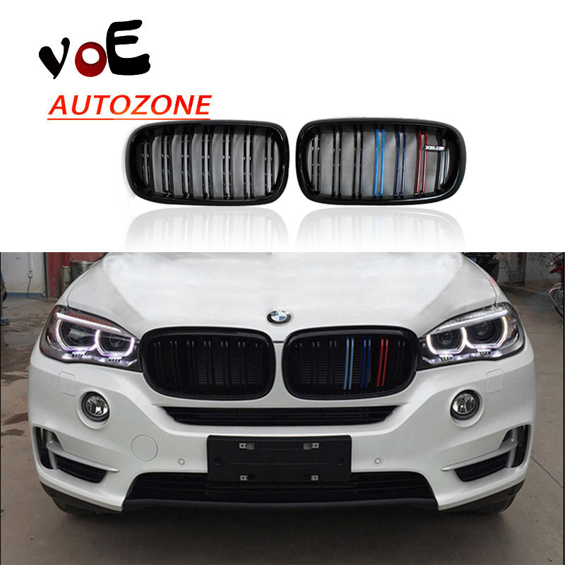 2014 2015 2016 F15 F16 Kidney Shape Gloss 3-color ABS Plastic M-sport Look Front Racing Grill Grille for BMW F16 X6 BMW F15 X5 x5 x6 m performance sport design m color front grill dual slat kidney custom auto grille fit for bmw 2015 2016 f15 f16 suv