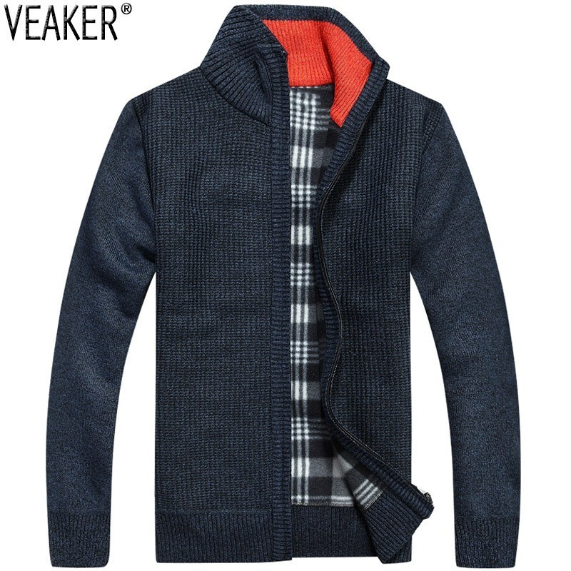 2019 Winter Autumn New Men's Thick Sweatercoat Male Slim Fit Fleece Sweaters Coat Outerwear Solid Color Sweater Jacket M-3XL