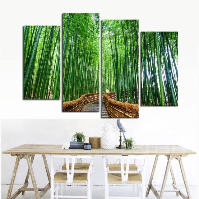 decoración de bambú en la sala de estar La Mejor Compra 4 Piezas De Bosque Fresco Verde Bamb