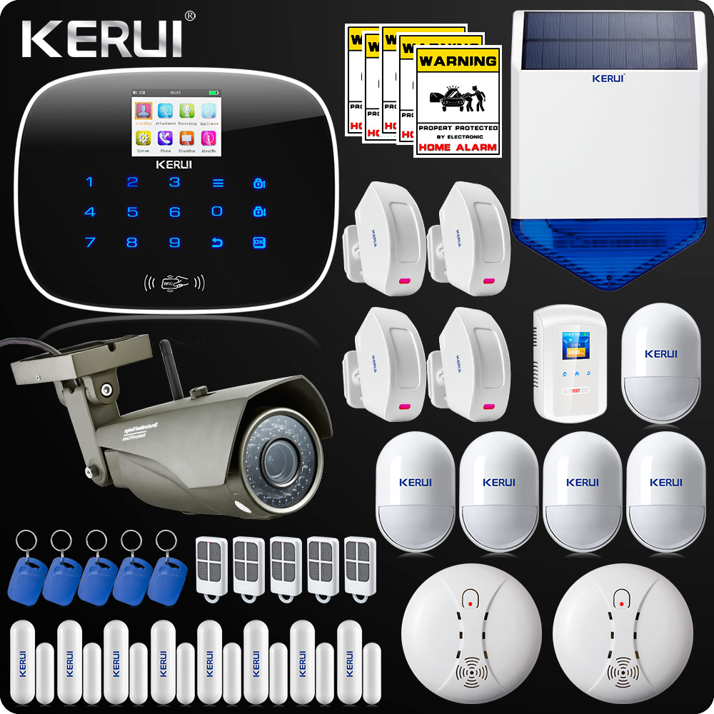 Kerui ISO Android App Home Alarm System  Autodial Burglar Security Kit RFID Display Outdoor Wifi Camera  Door Open Reminder kerui w2 wifi gsm home burglar security alarm system ios android app control used with ip camera pir detector door sensor