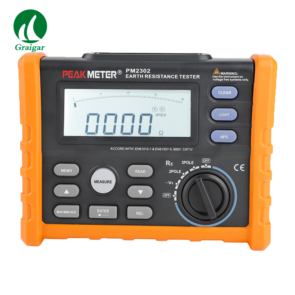 PM2302 Digital Earth Ground Resistance Tester Meter 0 ohm--4000 ohm image