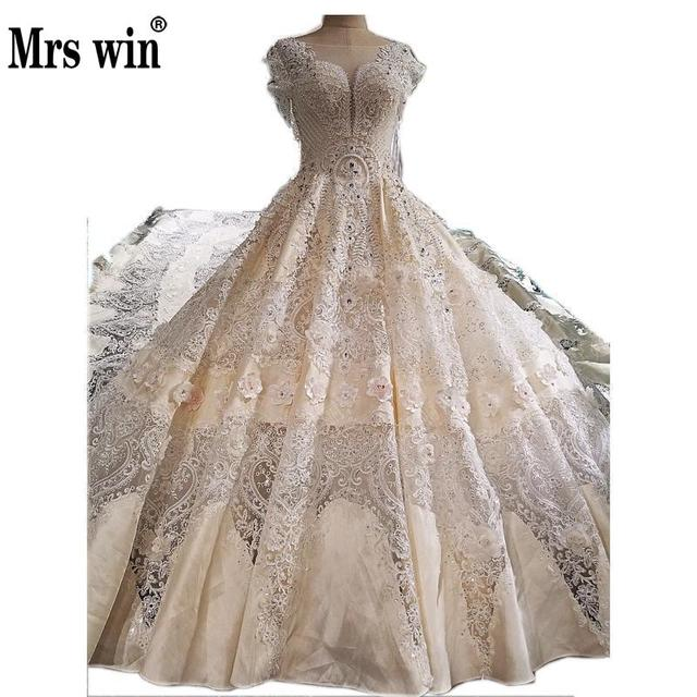 2017 Luxury 3M Cut Out Royal Train Wedding Gown Light Champagne High End Crystal Beaded