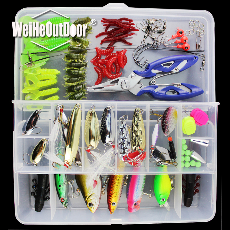 101Pcs Fishing Lure Tackle Mixed Hard Bait Soft Bait Popper Crankbait VIB Topwater Floating Fishing Lures Hook Plier with Box noeby insect bait hard lures crankbait treble hook 1 pcs 28mm 2g fishing tackle lure