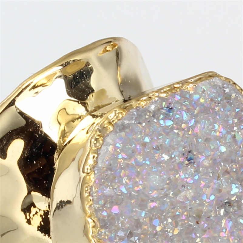 หรูหราธรรมชาติล้างหยาบดิบDruzyคริสตัลกึ่งมีค่าหินบริสุทธิ์สีทองแหวนปรับตอกเปิดแหวนข้อมือผู้หญิง