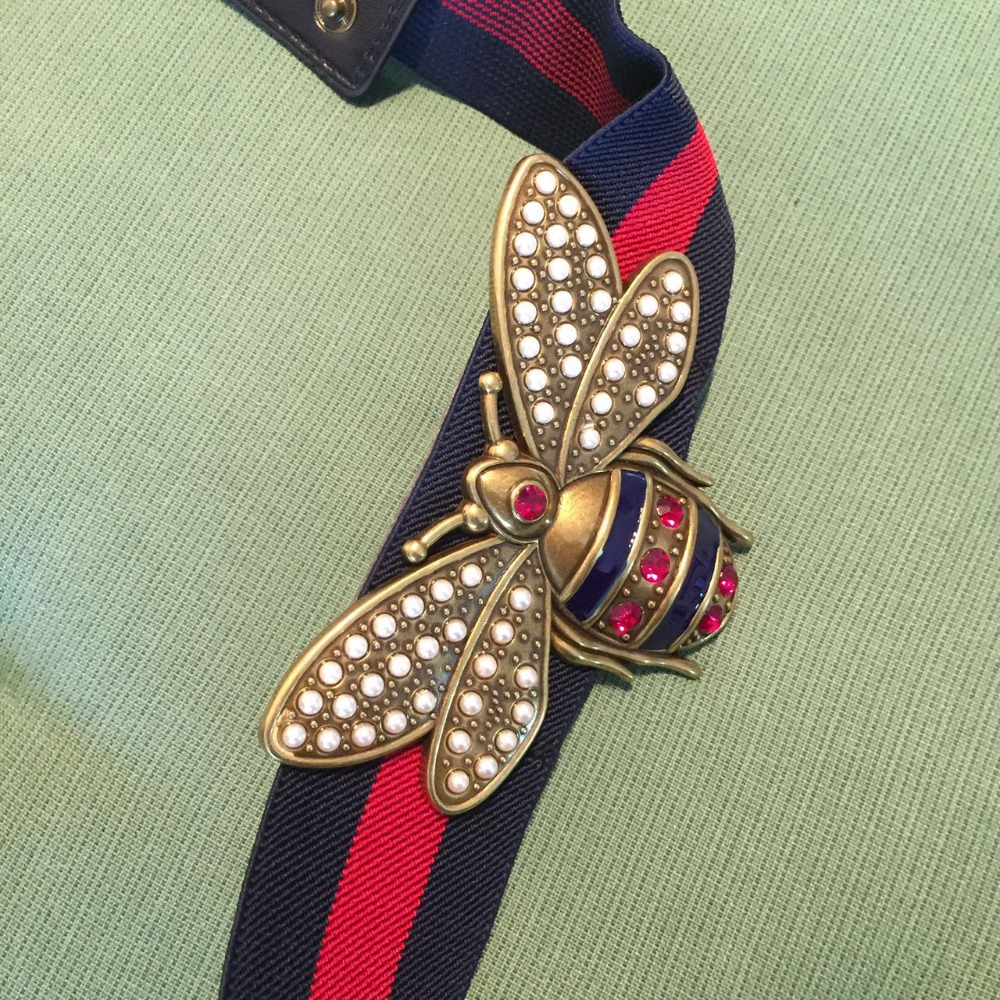 New arrival 2019 fashion women girls cute bee   belt   diamonds beading pearls blue red striped knitted   belts   metal buckle