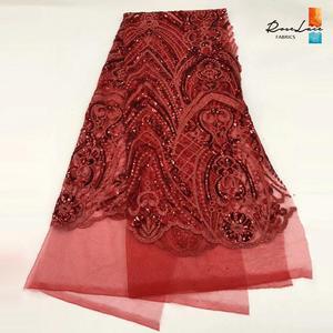 Image 4 - Bourgogne Kim Sa Lưới Vải Ren Màu Rượu Vang Châu Phi Nữ Giới Nigeria Váy áo May Chất Liệu Cổ Điển Thiết Kế Lưới Vải