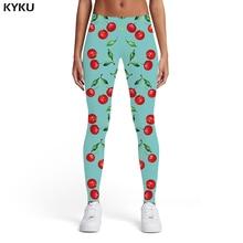 KYKU Cherry Leggings Women Leaf Sport Fruit Sexy Art Elastic Graffiti Printed pants Womens Pants Casual Bodybuilding