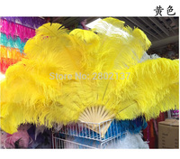 New! yellow Ostrich feathers double fan bamboo pole Halloween party decorations jewelry need 12 bones belly dance feathers fan