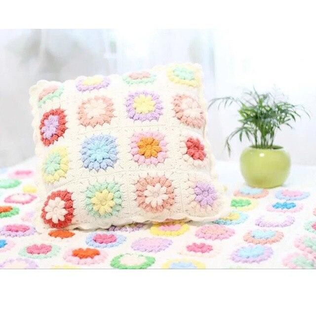 Funda de Almohada Patrón de flores de Ganchillo Mano Hooked Crochet ...