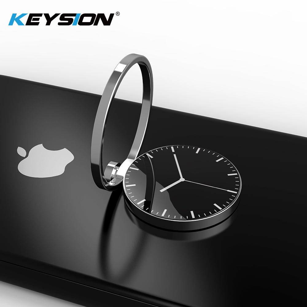 KEYSION Universal Luxury Watch Pattern Metal Finger Ring Holder 360 Rotate Mobile Phone Stent For IPhone X 8 Plus For Samsung S9
