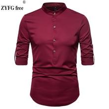 Frühling männer casual shirt Neue Mode Vorbehalten Langarm Shirts Männer Camisa Männlichen Dünne hemden vintage Männer Hemd EU größe