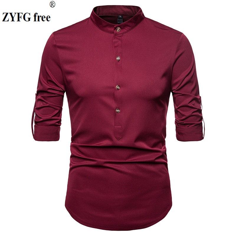 ZYFG Free Men Casual Shirt New Fashion Reserved Long Sleeve Shirts Men Camisa Male Slim Shirts Vintage Men Shirt EU Size