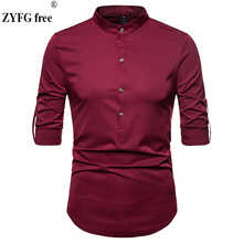 ZYFG free men casual shirt New Fashion Reserved Long Sleeve Shirts Men Camisa Male Slim shirts vintage Shirt EU size