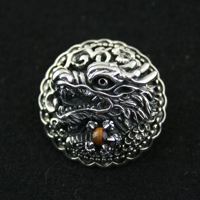 925 pur argent couvert boutons chinois dragon incrusté oeil de tigre thai argent sac boucle vintage bricolage décoration boucle