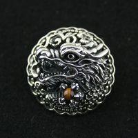 925 чистого серебра обтянутые пуговицы китайский дракон вкладывая тигровый глаз тайский серебро сумка пряжкой Винтажные Украшения DIY Пряжка