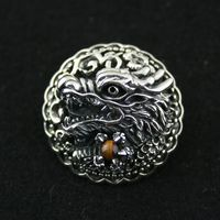 925 pure silver covered buttons chinese dragon inlaying tiger's eye thai silver bag buckle vintage diy decoration buckle