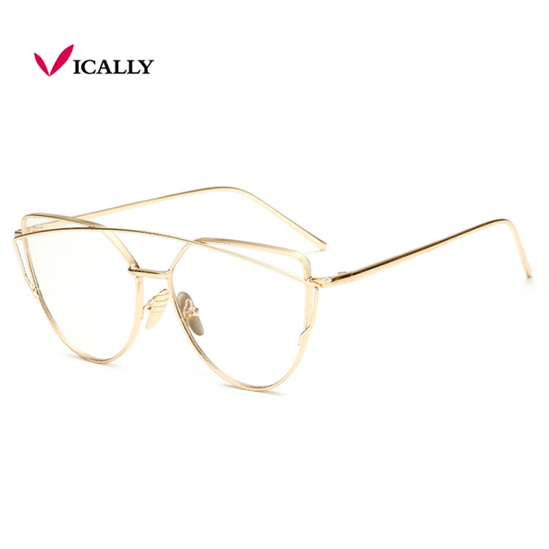 Gold Metal Frame Eyeglasses For Women Female Vintage Glasses Clear ...