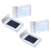 4pcs Solar Sensitive Sound Sensor 16 LEDs Outdoor Light Home Security Silver