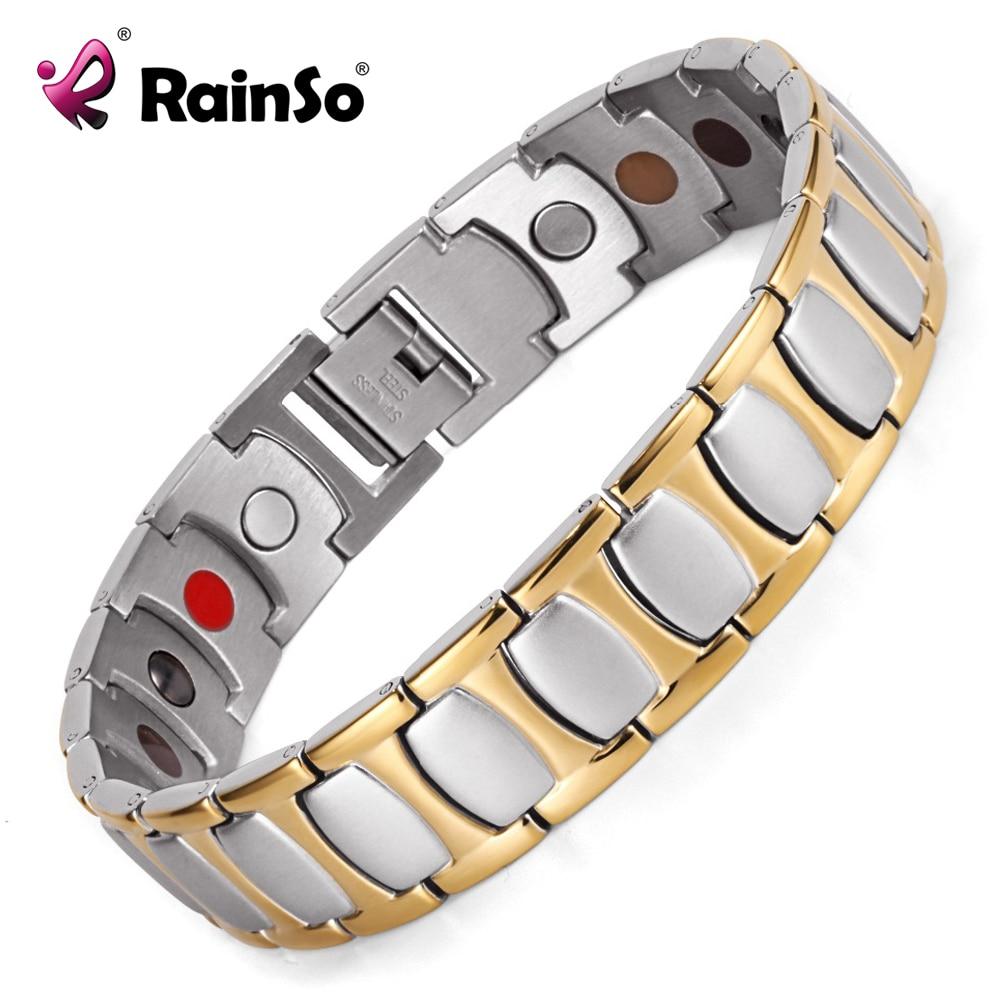 Healing Magnetic Bracelet Men Woman 316L Stainless Steel 3 Health Care Elements Magnetic FIR Germanium Gold
