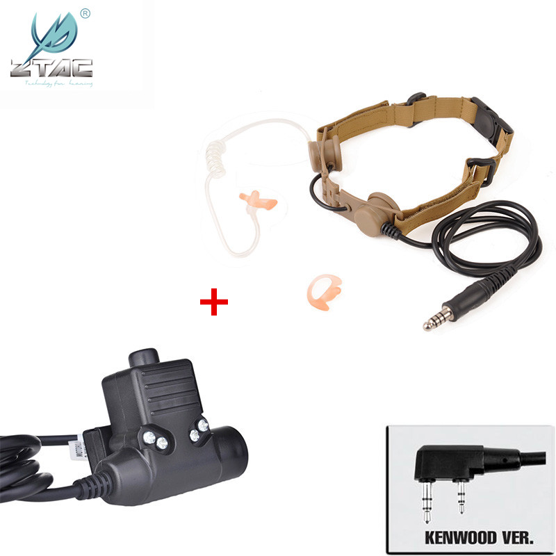 Z Tactical Bowman Throat Mic Adapter For Style EVO III Dual Side airsoft Headset with parts U94 PTT for Kenwod Softair Z033 Z113