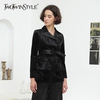 TWOTWINSTYLE Velvet Coat Tops Female Long Sleeve Lace up Tunic Jacket Women Black Coats Large Size OL Clothes 2018 Autumn Winter