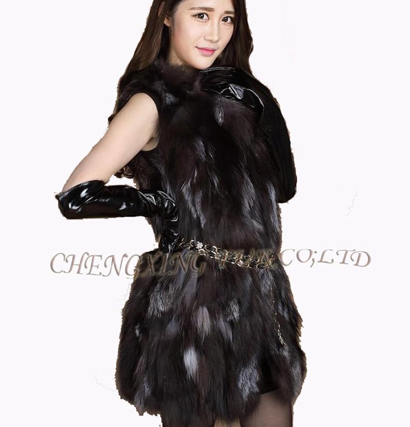 Mode Fur 109 Baisse De Fox ~ Gris g b Expédition Silver Cx Femmes Patchwork Réel Vest aWIAwxq4n