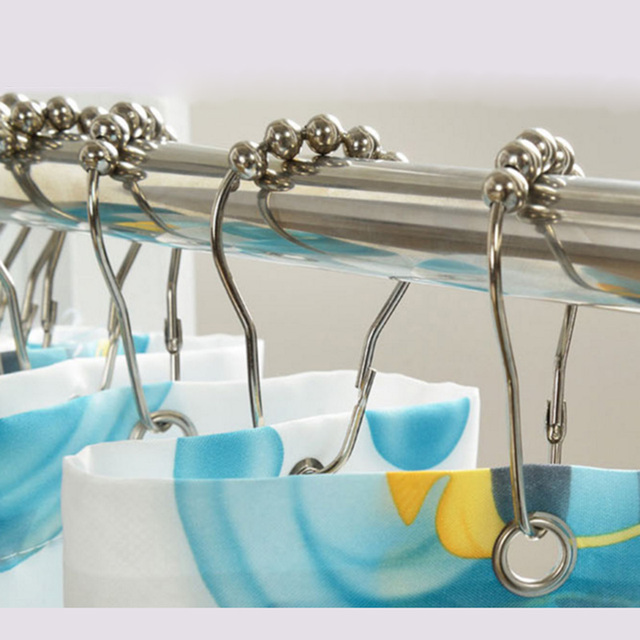 Aliexpress.com : Buy 12pcs Bathroom Metal Shower Curtain Hooks ...