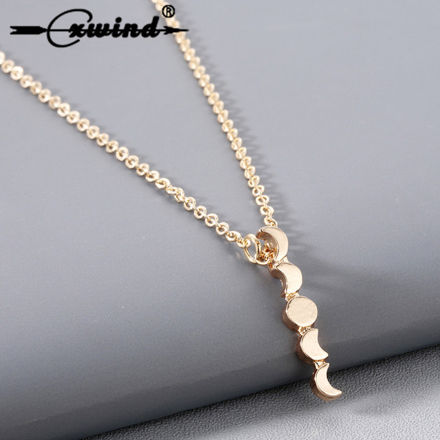 Cxwind Fashion Moon Necklace Charm Crescent Sun Pendant Necklace Chain Bohemian Choker Jewelry for Women Girl Gift collares 2019