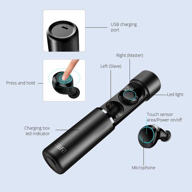 Mifa X1 słuchawki douszne bezprzewodowe z Bluetooth True Bluetooth 5.0 słuchawki Twins Stereo douszne TWS z mikrofonem przenośny pojemnik na baterie