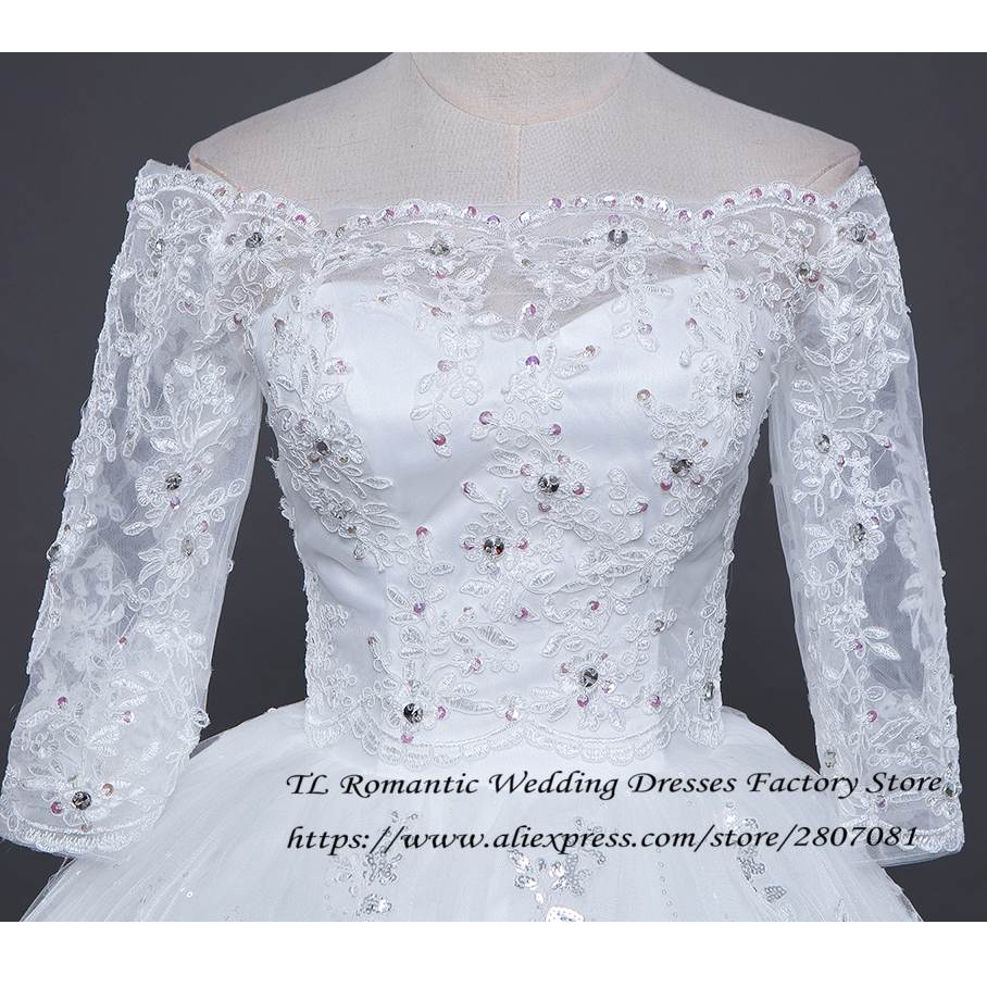 Free Shipping Lace Boat Neck Sleeves 2017 New Wedding Dresses White ...