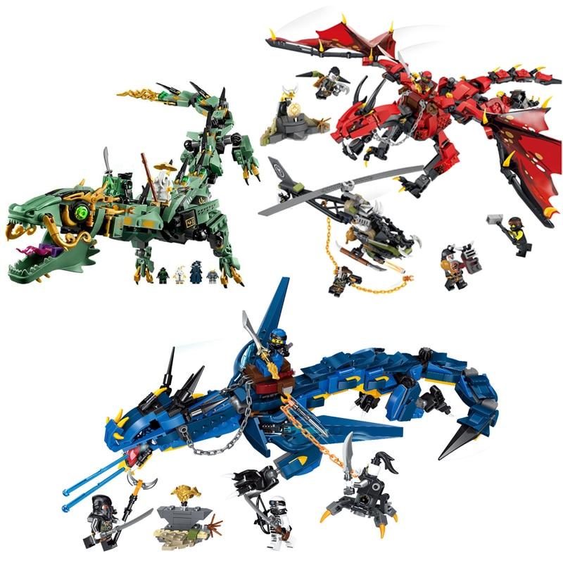 Ninjagoed Flying Mecha Dragon Building Blocks Bricks Toys Model Ninja Action Figures Model Toys Gifts  With