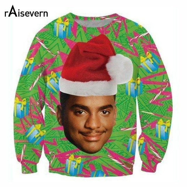 Raisevern Fashion Sweatshirt 3D Print Christmas Hoodie Carlton Banks/Sloth/Grumpy Cat With Christmas Hat Outerwear Tops Dropship