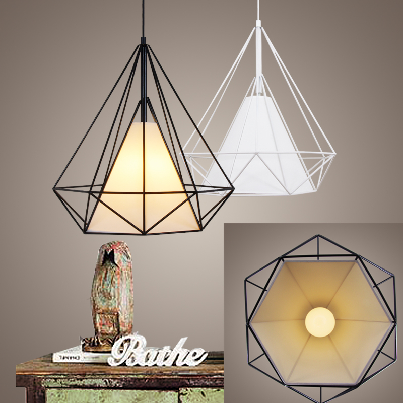 Birdcage pendant lights Scandinavian modern minimalist pyramid light iron light with LED bulb HM13