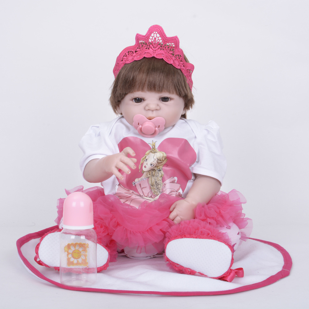 55cm Soft Full Silicone Vinyl Reborn Baby Doll Lifelike Princess Girl Dolls for Children Kids Toy Birthday Xmas New Year Gift 22 inch soft full silicone vinyl reborn baby doll lovely sleeping girl dolls for children kids toy birthday xmas new year gift