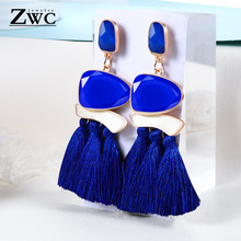ZWC Charm Fashion Vintage Exaggerated Tassel Earrings for Women Wedding Geometric Bohemian Long Drop Earrings Jewelry Wholesale