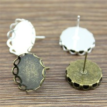 20pcs 10mm 12mm 14mm 16mm Lace Sharp Edge Copper Material Earring Studs Earrings Base/Blank Bezels For Cabochon Craft