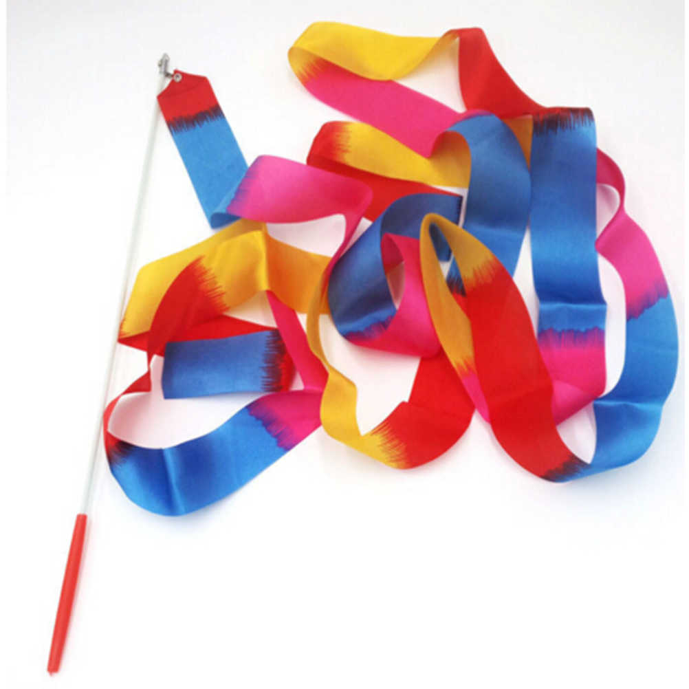 สีสันริบบิ้นยิมนาสติกของเล่นเด็กกลางแจ้ง Hyun Dance Band Bauble ศิลปะบัลเล่ต์ Twirling Stick 4 เมตร