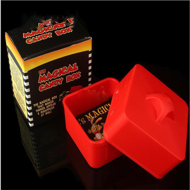 Magic Candy Box (Red) Magic Tricks Stage Gimmicks Objects Appearing From Empty Box Comedy Magic Props Accessories