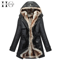 Best Faxu Fur Thick Lining Long Winter Jacket Women Hooded Windshield Zipper Sashes Parka Plus Size