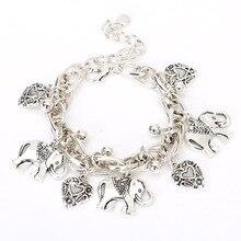 Fashion Silver Charm Bracelet Bohemian Statement Female with Elephant Peach Heart Vintage Jewelry for Women