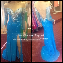 Sexy Side Slit Blue Mermaid Prom Dress Boat Neck Sheer Beaded Chiffon Floor Length Long Sleeve Prom Dresses 2017