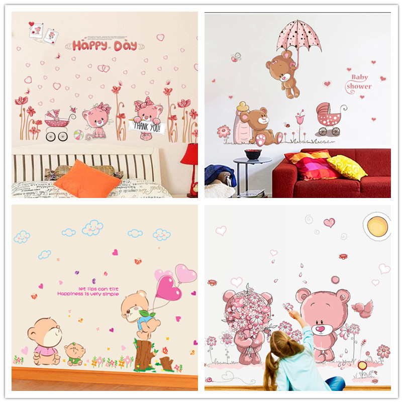 Cartoon Cute Teddy Bear Wall Sticker Home Decals Wall Decal Home Decortaion Wallpaper Kids Rooms Bedroom Nursery Room Poster