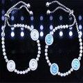 2016 Новый Прибыл Мода 100% Стерлингового Серебра 925 Голубой Опал Круглый Браслет С камнями Белый Опал Браслет Для Женщин