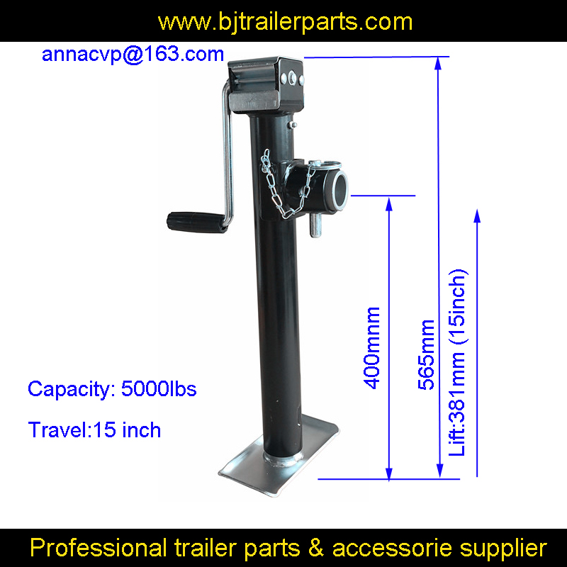 "TRAILER JACK Side Wind 5000 lbs Pipe Mount Swivel Jack Round Pipe Mount Swivel Trailer Jack Sidewind 15"" Lift Camper Trailer RV"