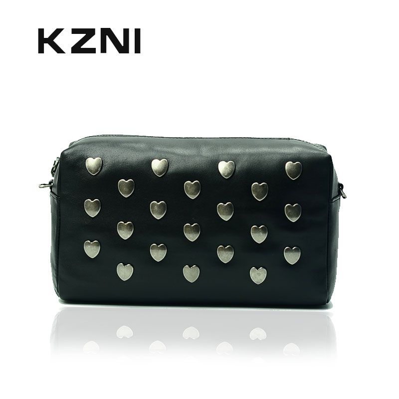 KZNI Rivet Crossbody Bag with Chain Women Bags Handbags Genuine Leather Cowhide Clutch Wallet Card Holder Pochette 1398 kzni genuine leather top handle bags rivet crossbody bag with chain women leather handbags sac a main pochette sac fem 1427 1428