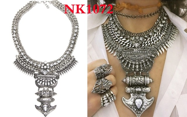 Women High Quality Elegant Vintage Maxi Collar Statement Necklace Pendant Jewelry Set