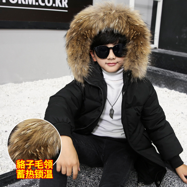 Big Promo Winter Jackets for 6-12Y Fashion Winter Down Jacket For Boy Fur Hooded Thicken Warmly Kids Winter Parkas Coat Children Outerwear