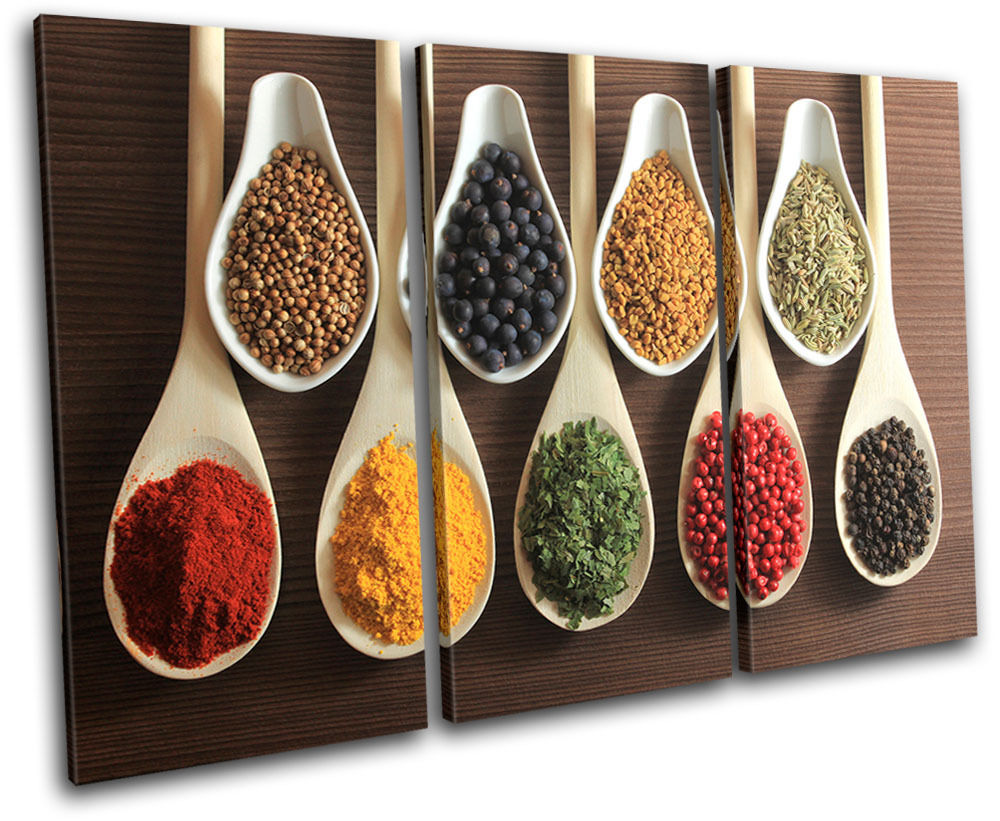 3 Piece Spices Indian Food Kitchen TREBLE CANVAS WALL ART Picture Print For Home Decor Wall Decor Ready to Hang Drop shipping image