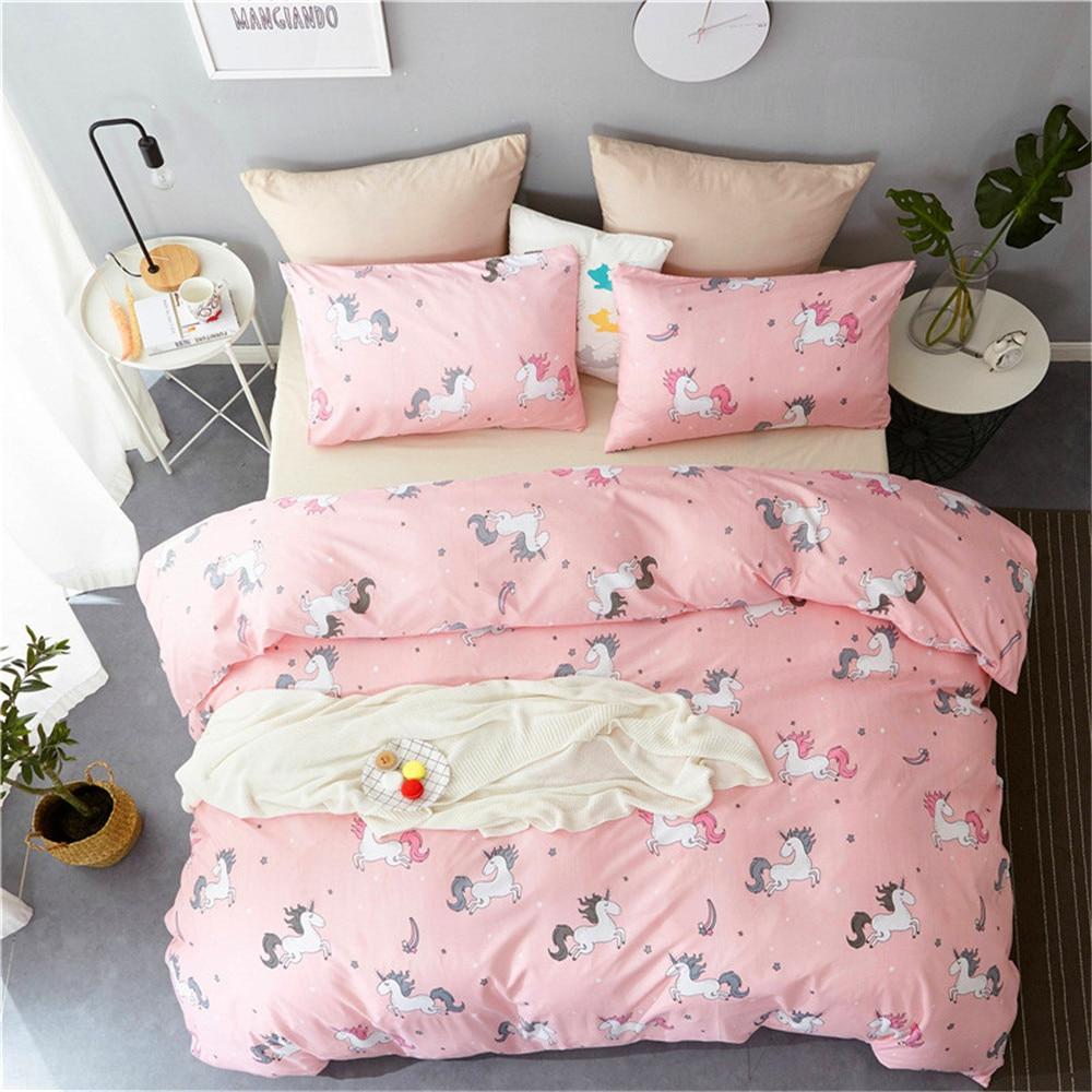 Winlife Unicorn Duvet Cover Set Forest Bedding Pink Duvet